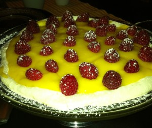 Lemon Meringue with Lemon Curd and Raspberries